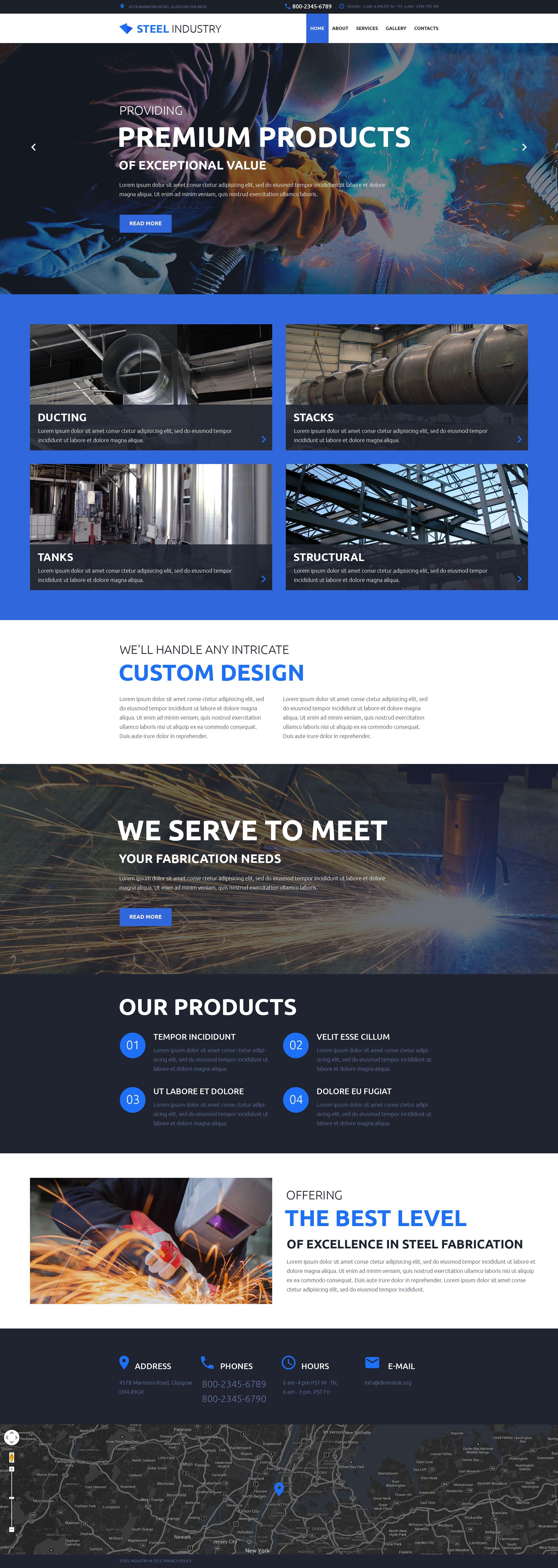 Responsive Website Vorlage für Stahlwerk #57852