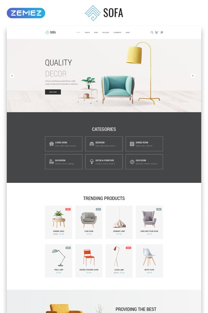 Responsivt Sofa - Furniture Multipage Modern HTML Hemsidemall #57820 - skärmbild
