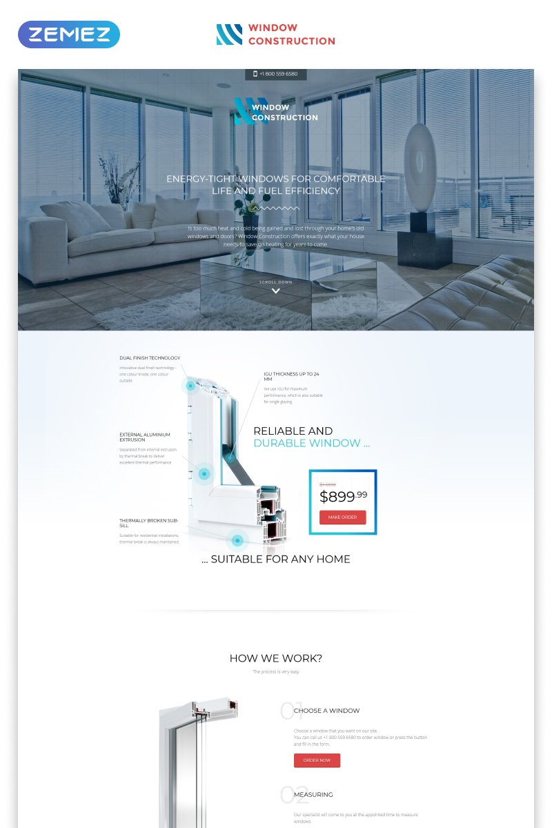 Responsivt Window Construction - Windows & Doors HTML Bootstrap Landing Page-mall #57808