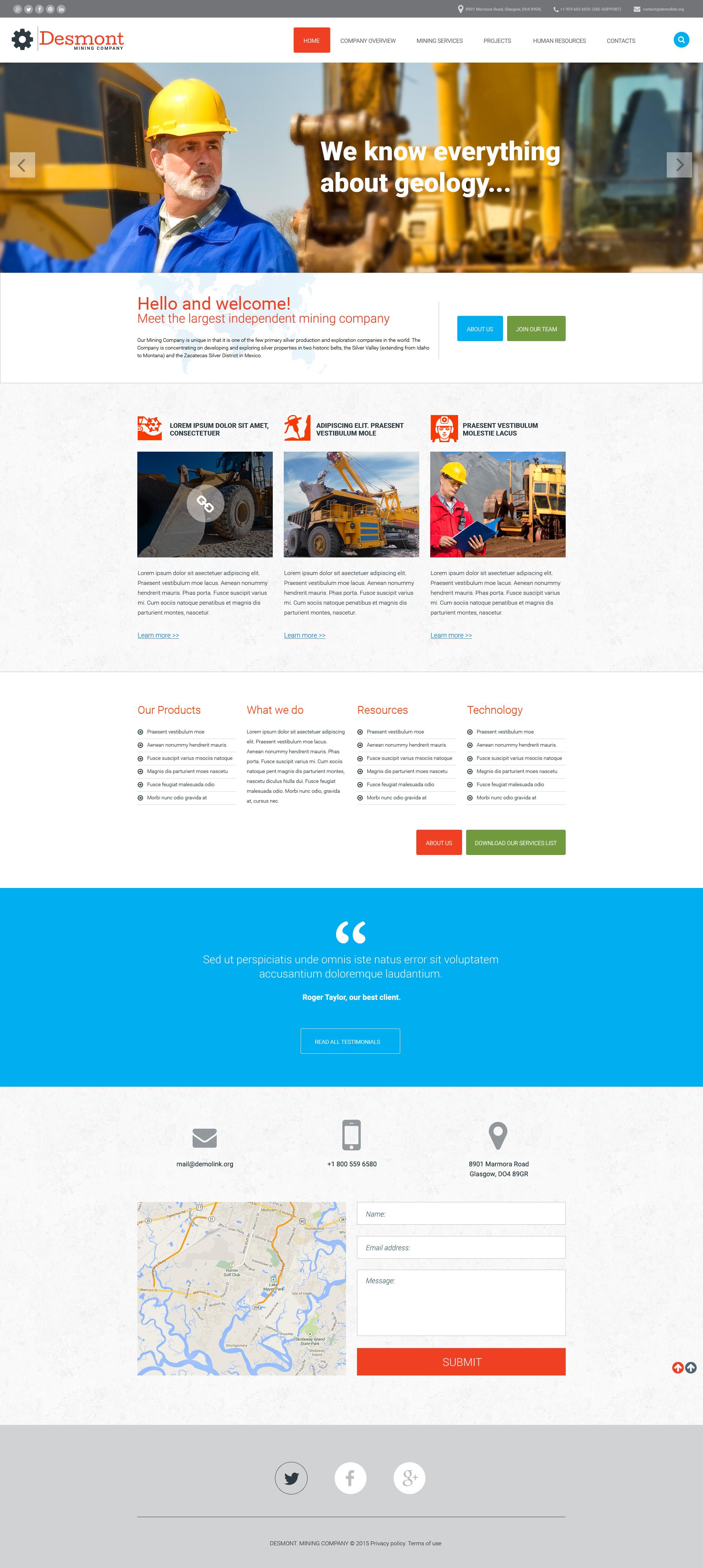 Responsywny szablon strony www #57893 na temat: przedsiębiorstwo górnicze