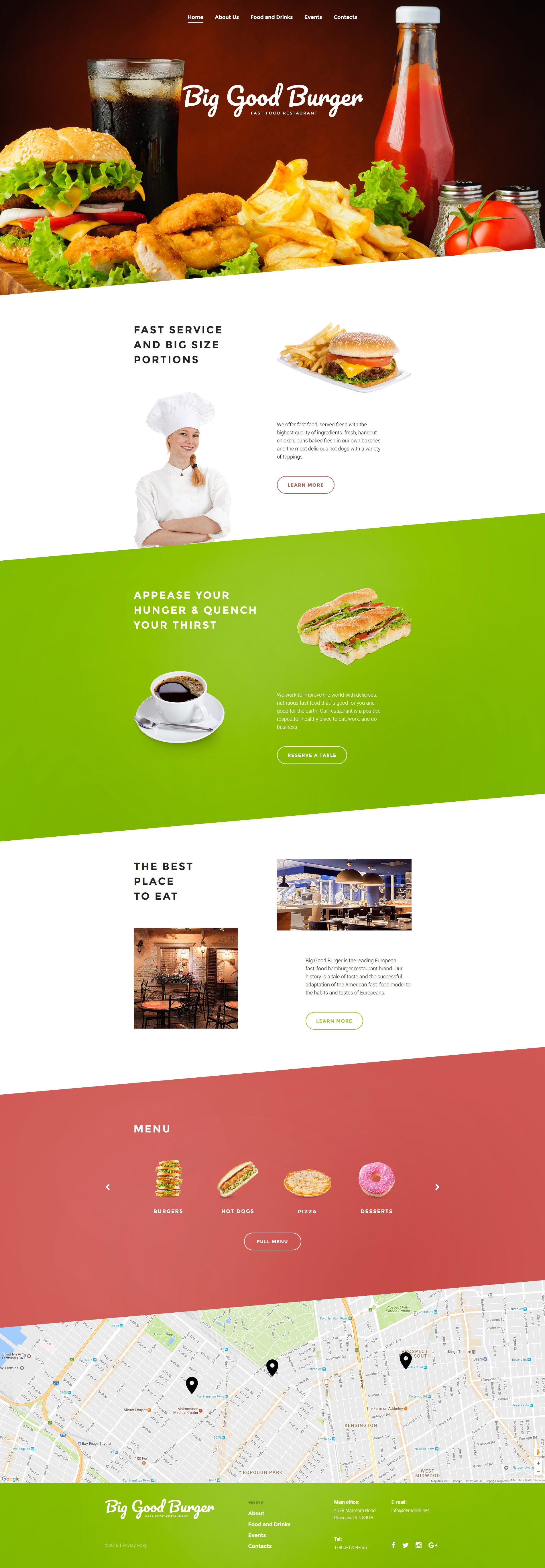"""Responzivní Šablona webových stránek """"Big Good Burger - Fast Food"""" #57800"""