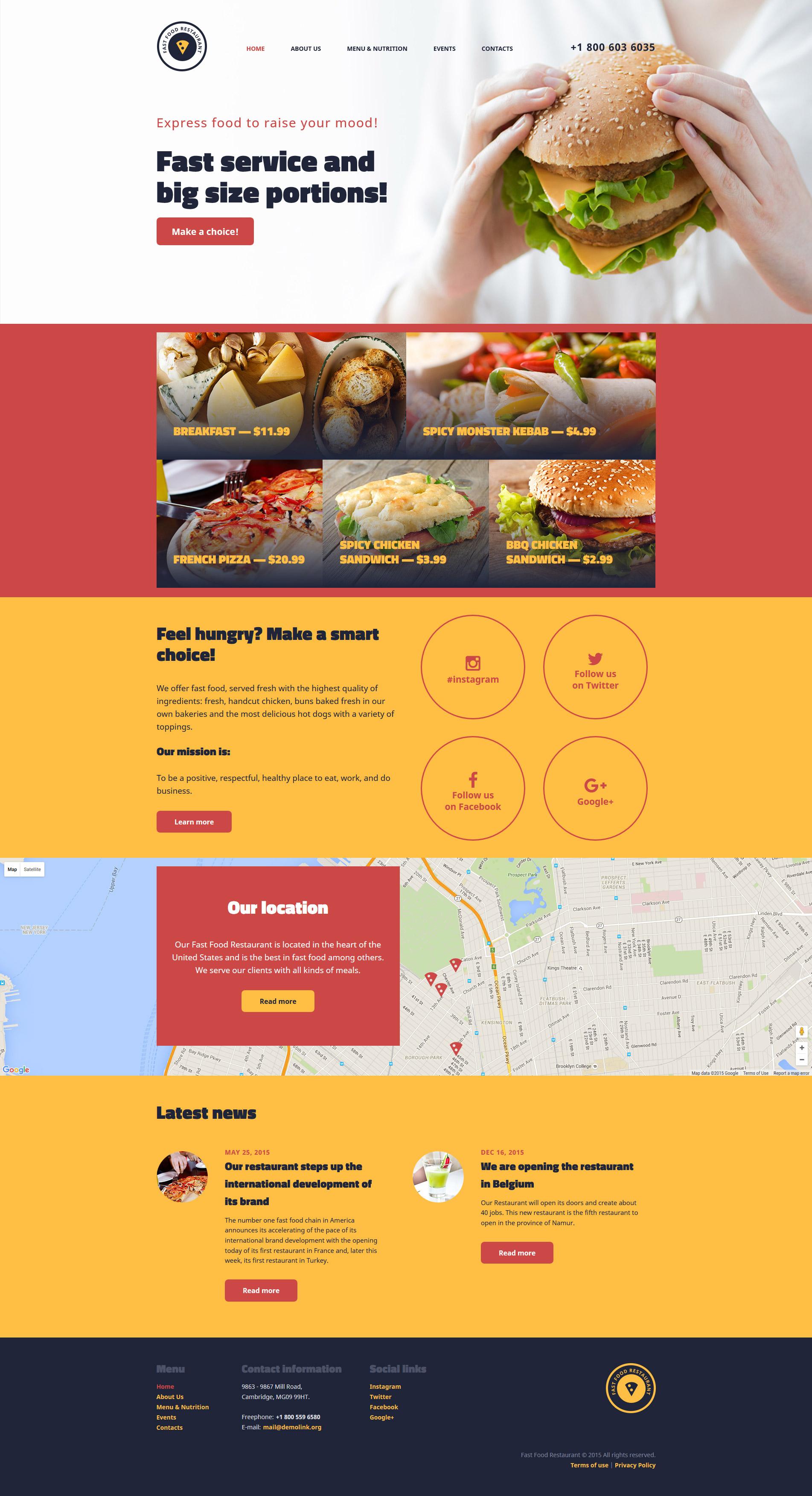 """Responzivní Šablona webových stránek """"Fast Food Restaurant"""" #57838"""
