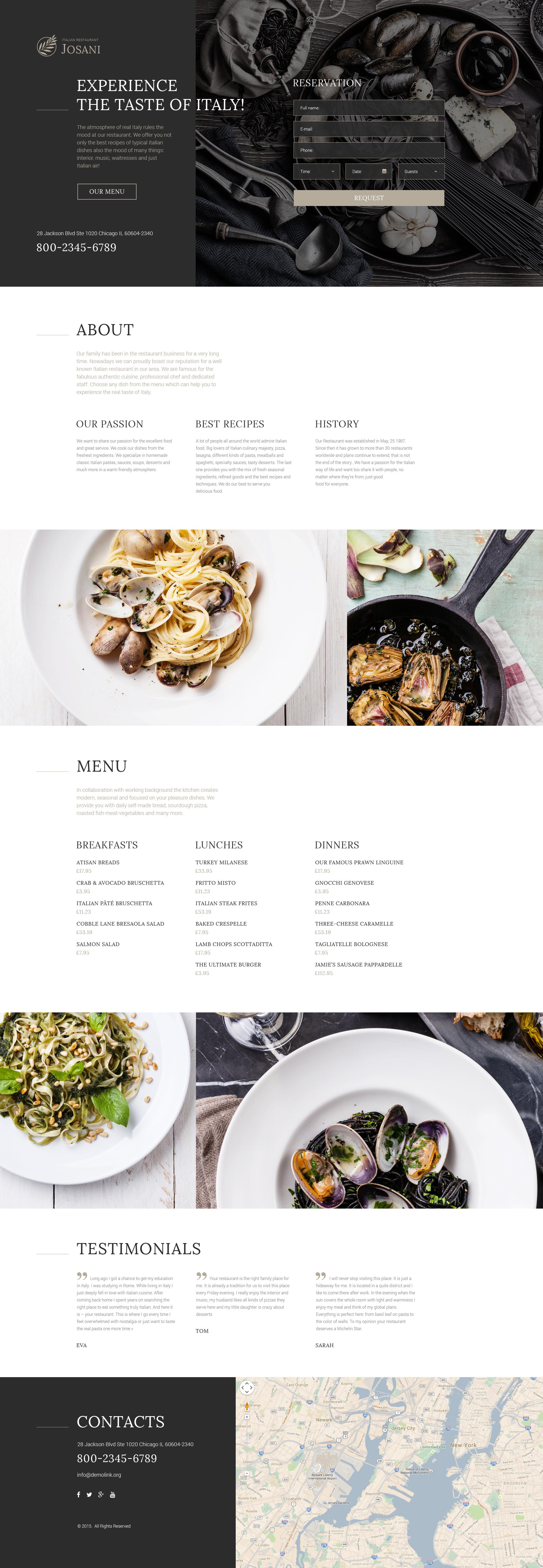 Reszponzív Olasz étterem Nyítóoldal sablon 57854 - képernyőkép