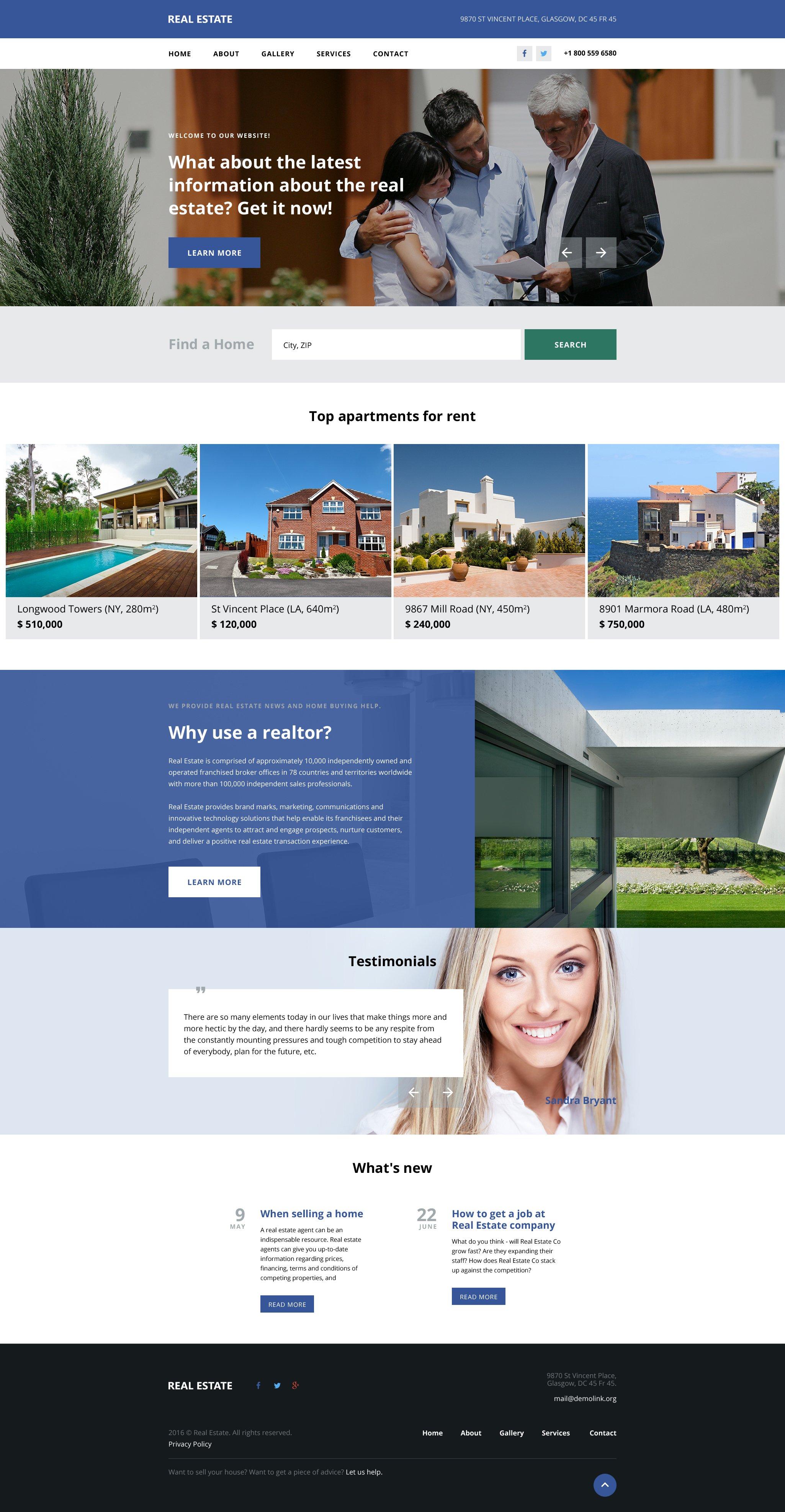 Reszponzív Real Estate Agency Weboldal sablon 57833 - képernyőkép