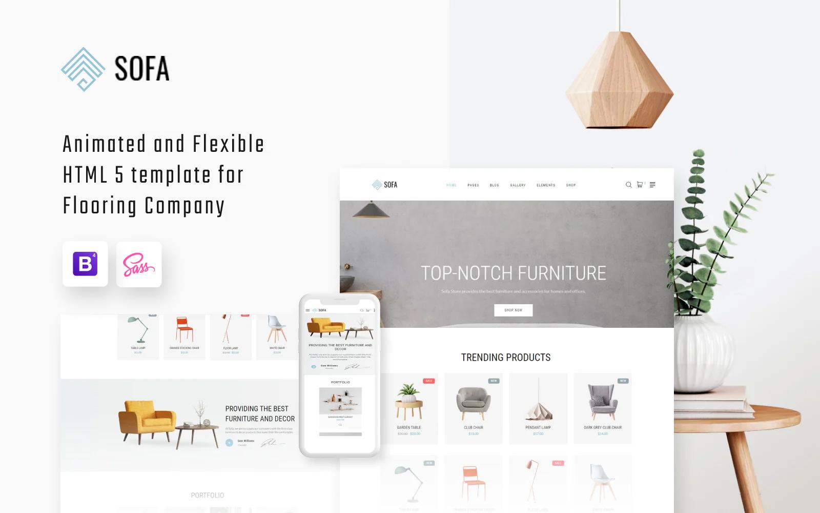 Reszponzív Sofa - Furniture Multipage Modern HTML Weboldal sablon 57820