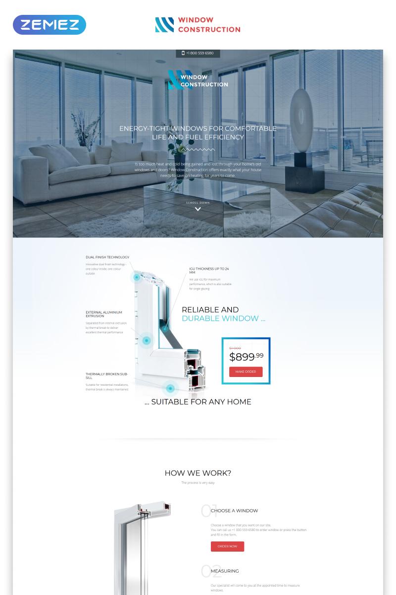 Reszponzív Window Construction - Windows & Doors HTML Bootstrap Nyítóoldal sablon 57808