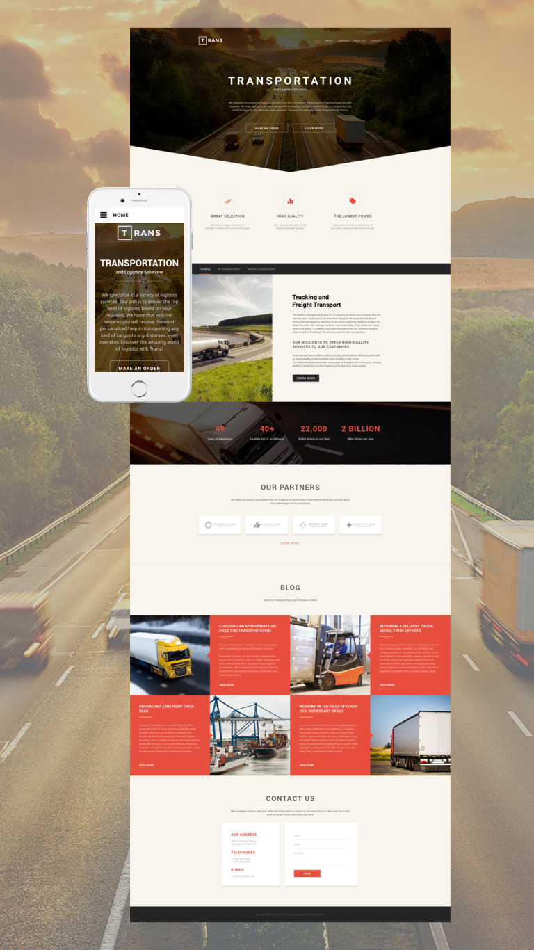 Transportation Responsive Website Template New Screenshots BIG