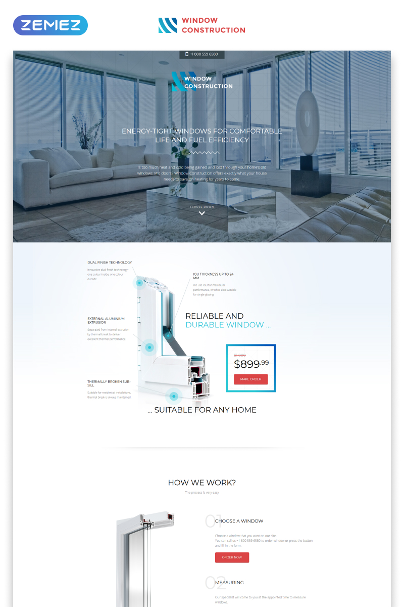 """Window Construction - Windows & Doors HTML Bootstrap"" Responsive Landingspagina Template №57808"