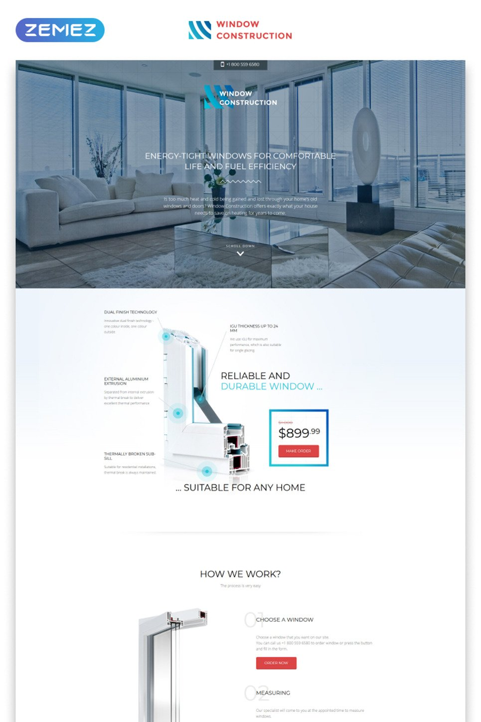 Windows & Doors Responsive Landing Page Template New Screenshots BIG