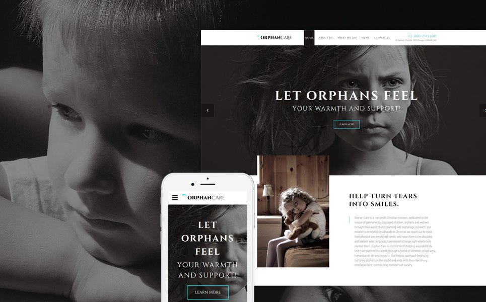 OrphanCare - Child Charity & Fundraising template illustration image