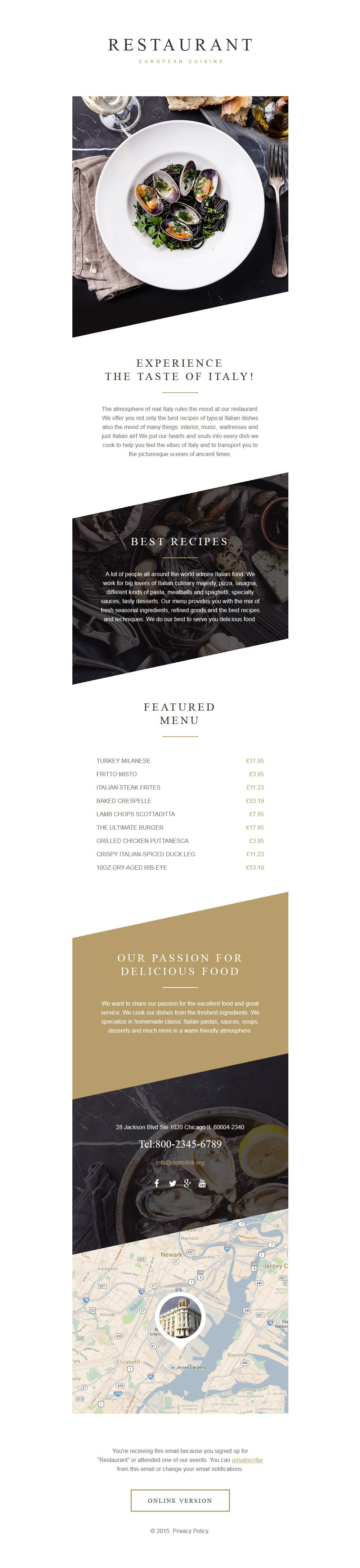 Адаптивный Шаблон рассылки №57923 на тему европейский ресторан