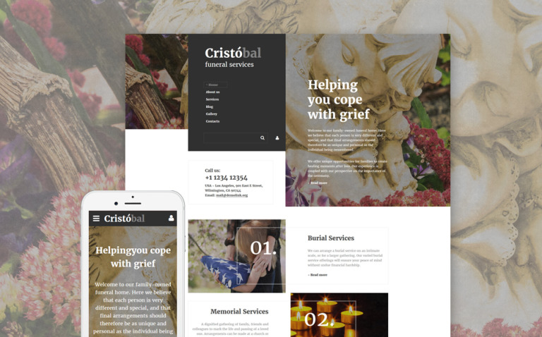 Cristobal - Funeral Services Responsive Website Template New Screenshots BIG