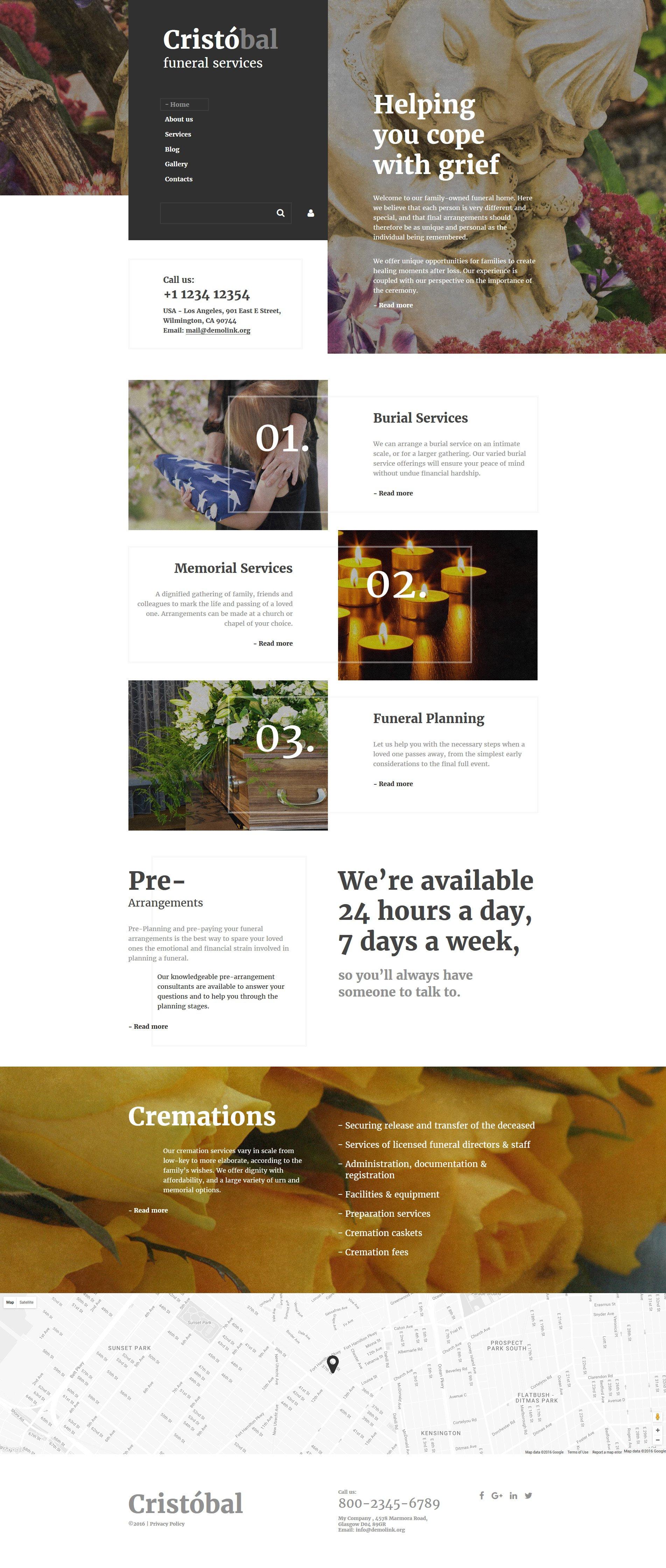 Cristobal - Funeral Services Responsive Website Template