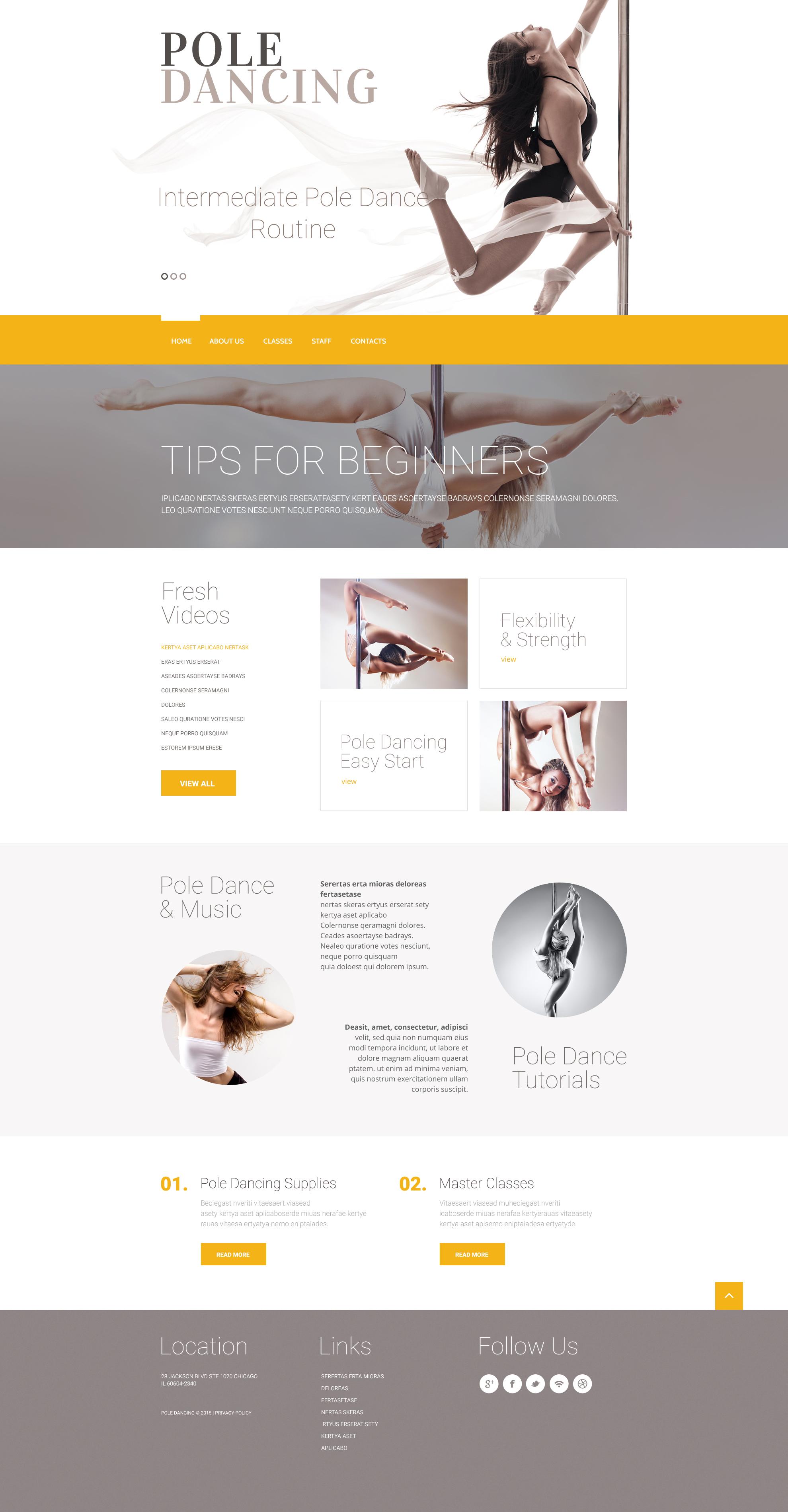 Dance Studio Website Templates