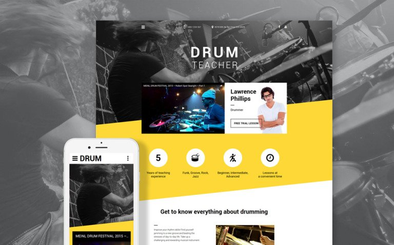 Drum Teacher Website Template New Screenshots BIG