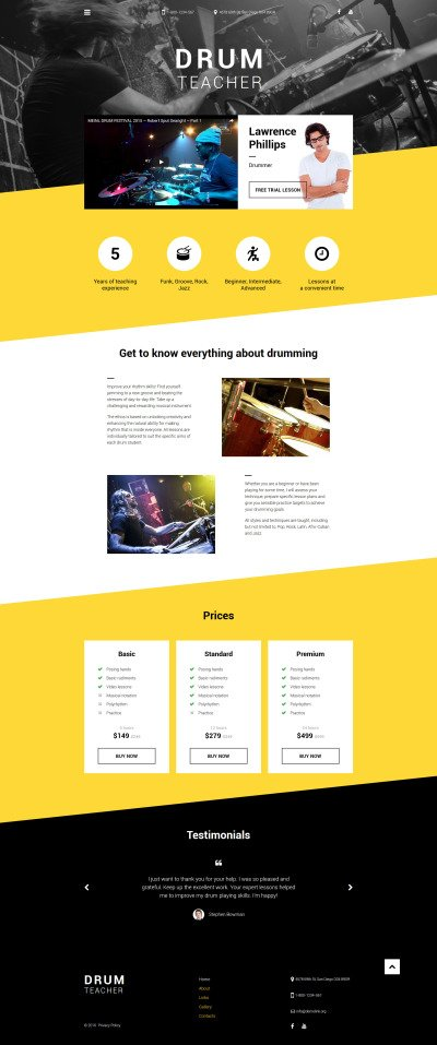 Drum Teacher Website Template