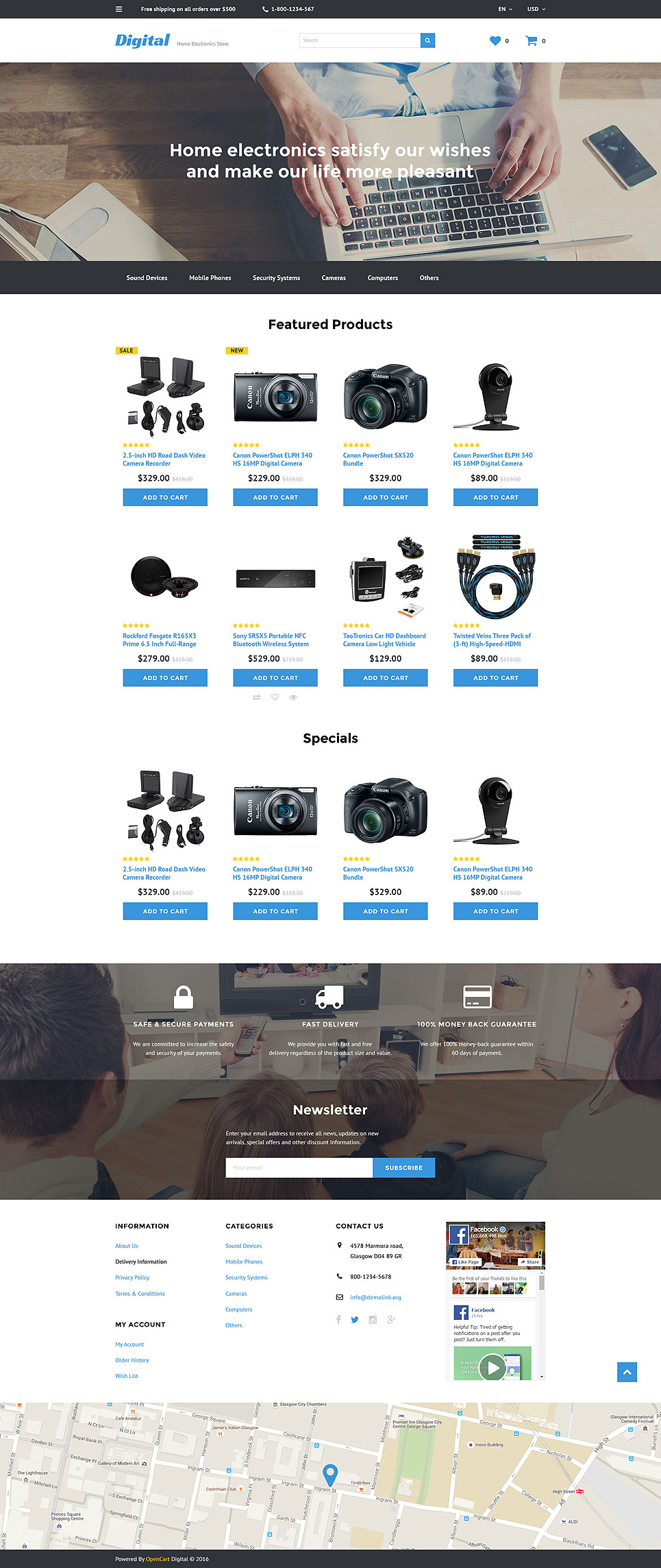 Electronic Store OpenCart Template New Screenshots BIG