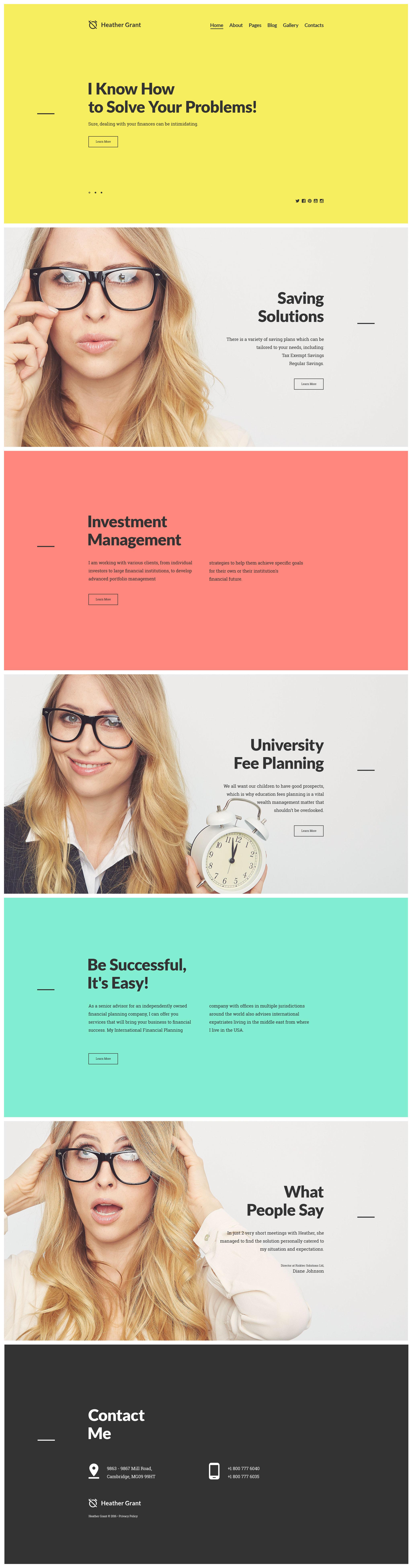 Heather Grant - Financial Advisor Joomla Template - screenshot