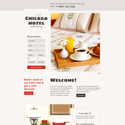 Chicago Hotel - Responsive Landing Page Template