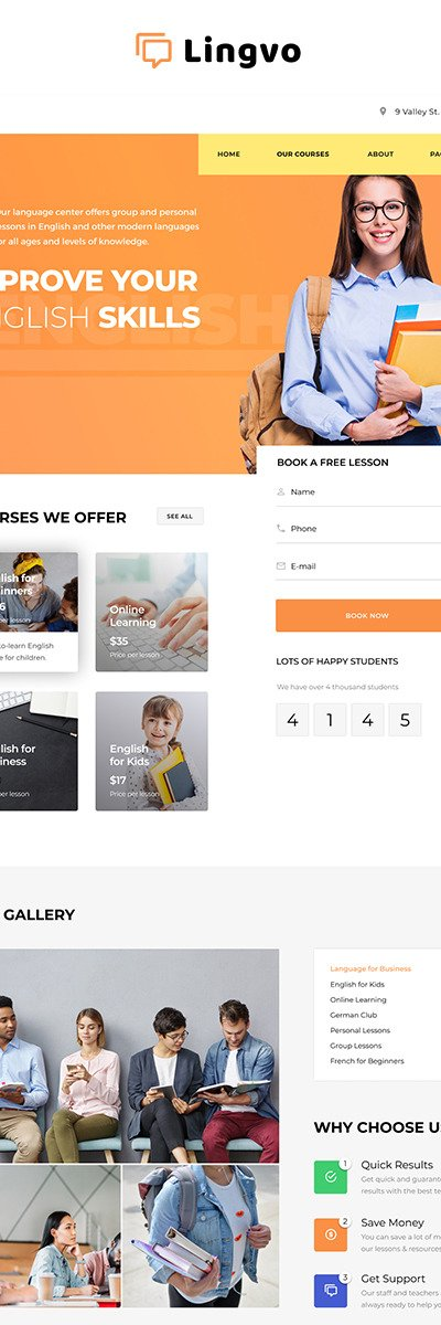 Language School Responsive Website Template