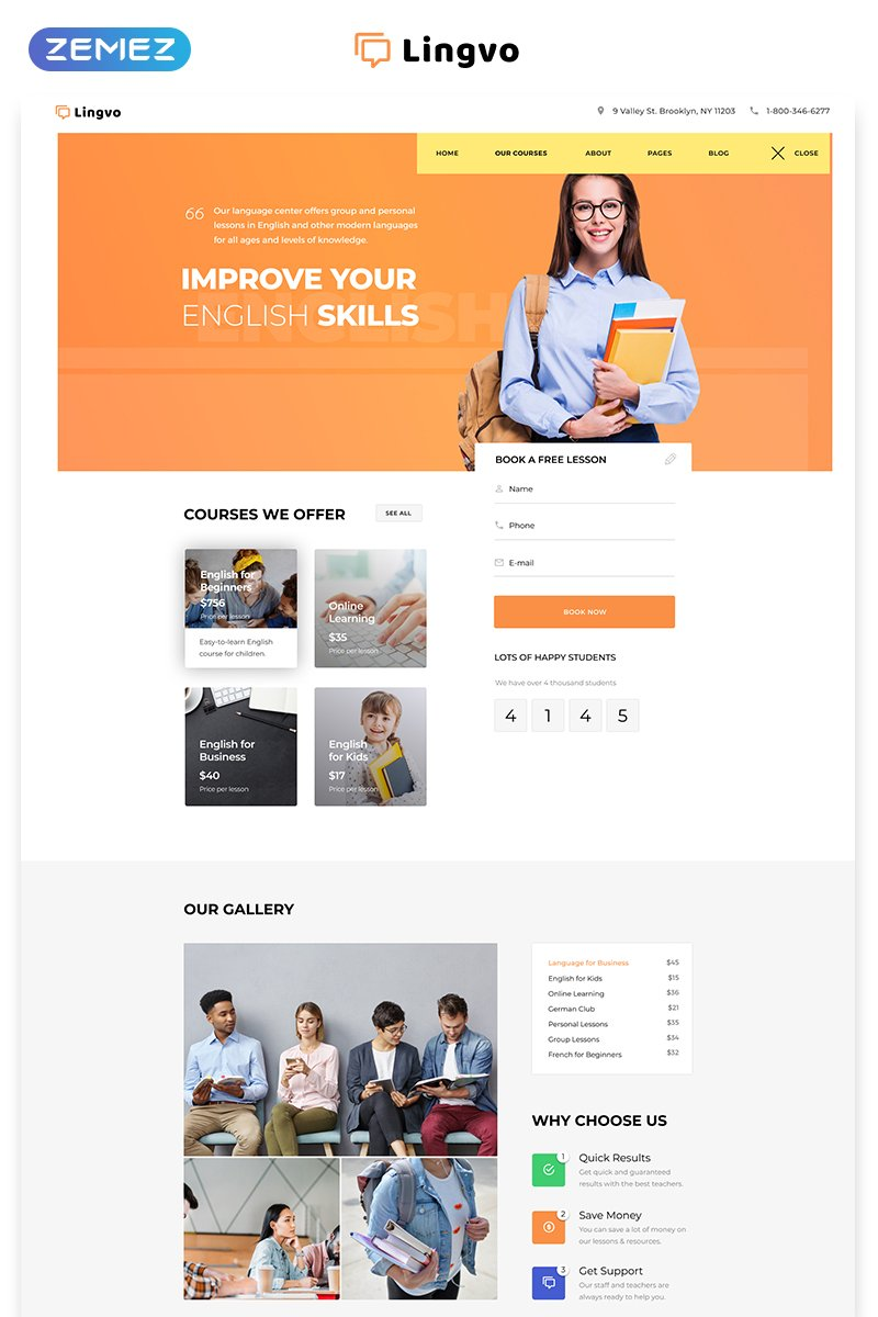 Lingvo - Language School Multipage Simple HTML5 Bootstrap Website Template - screenshot