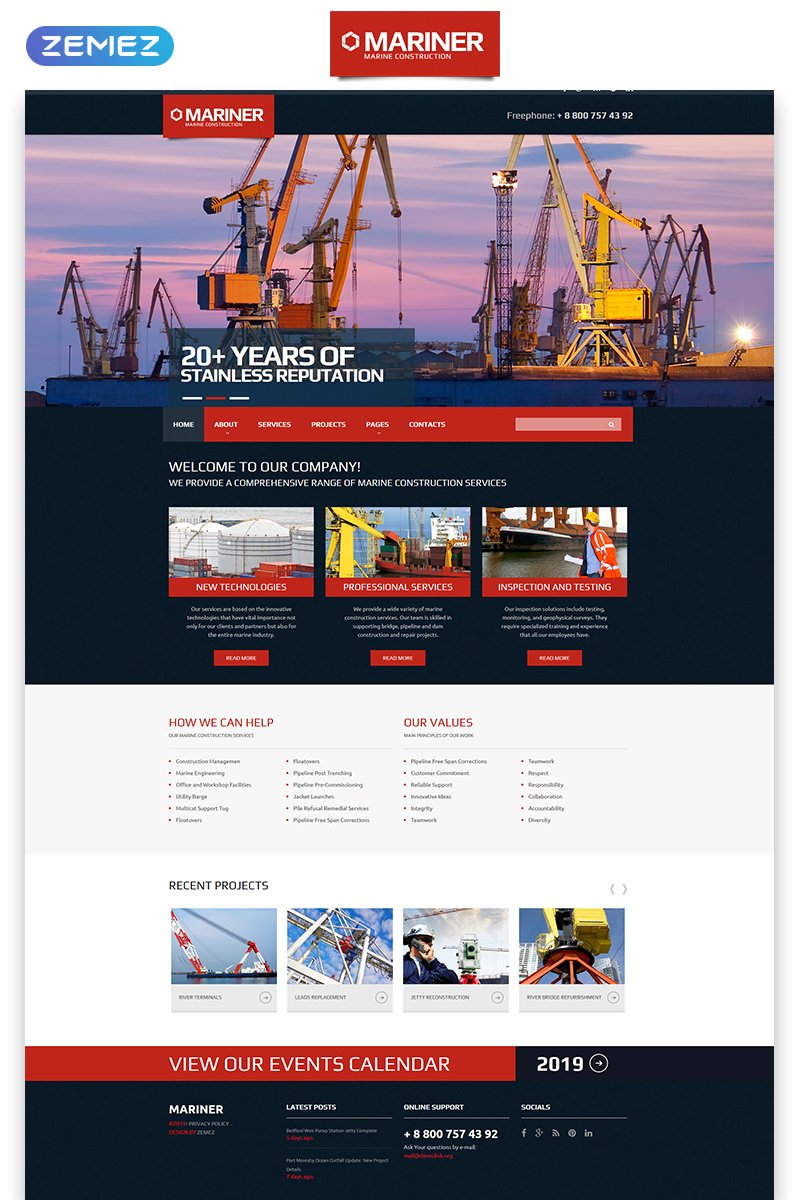 """Mariner - Construction Company Clean Responsive HTML"" Responsive Website template №57954"