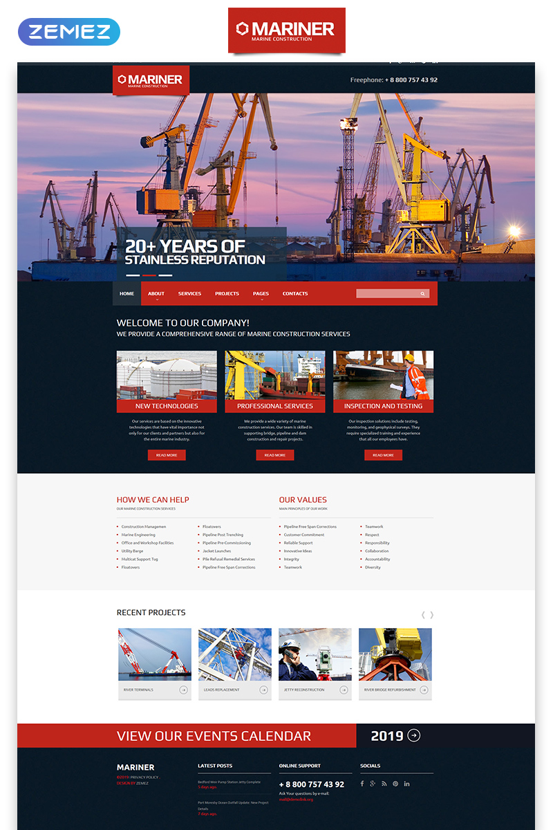 """""""Mariner - Construction Company Clean Responsive HTML"""" 响应式网页模板 #57954"""
