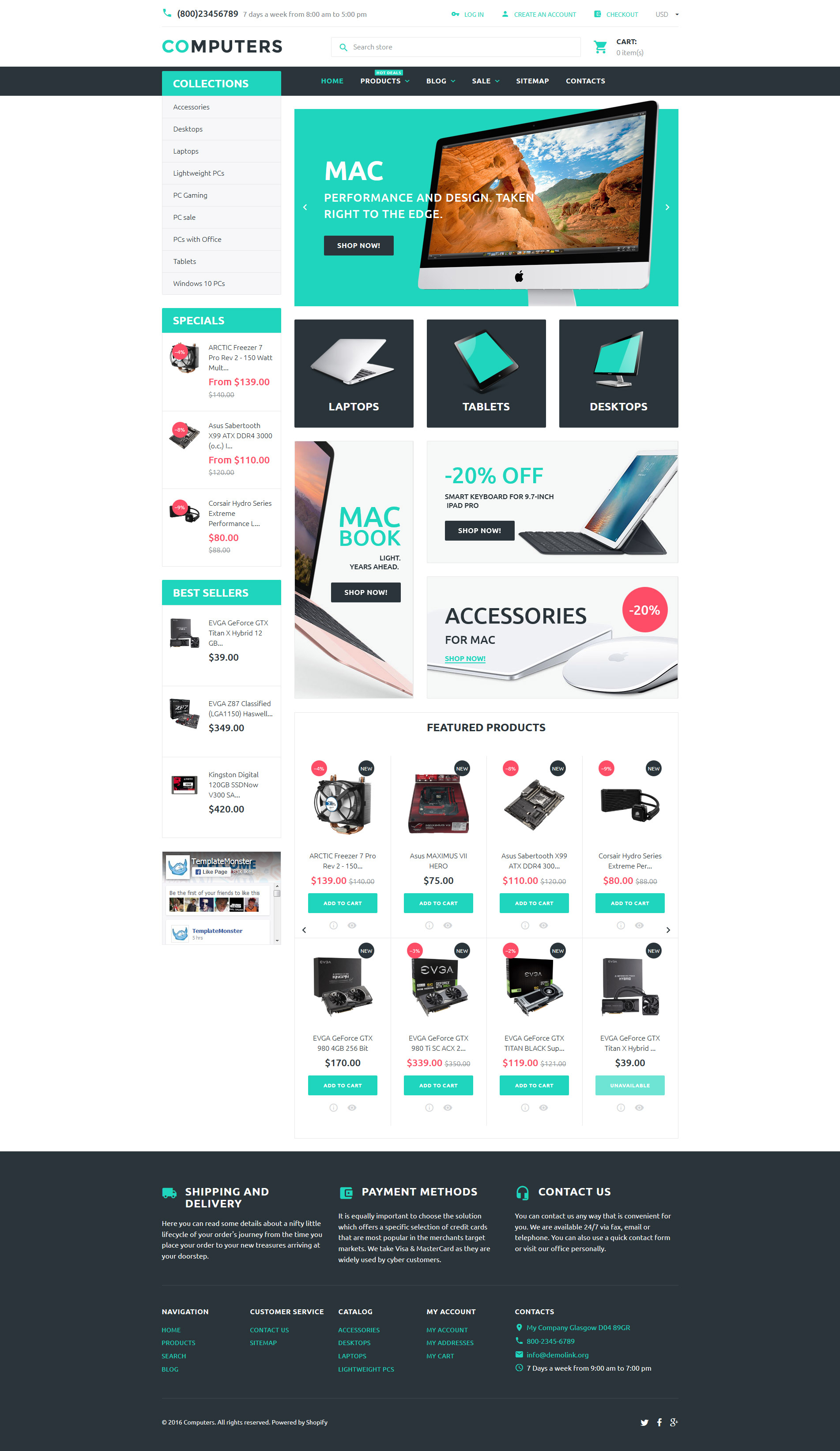 "Modello Shopify Responsive #57935 ""Computers"""