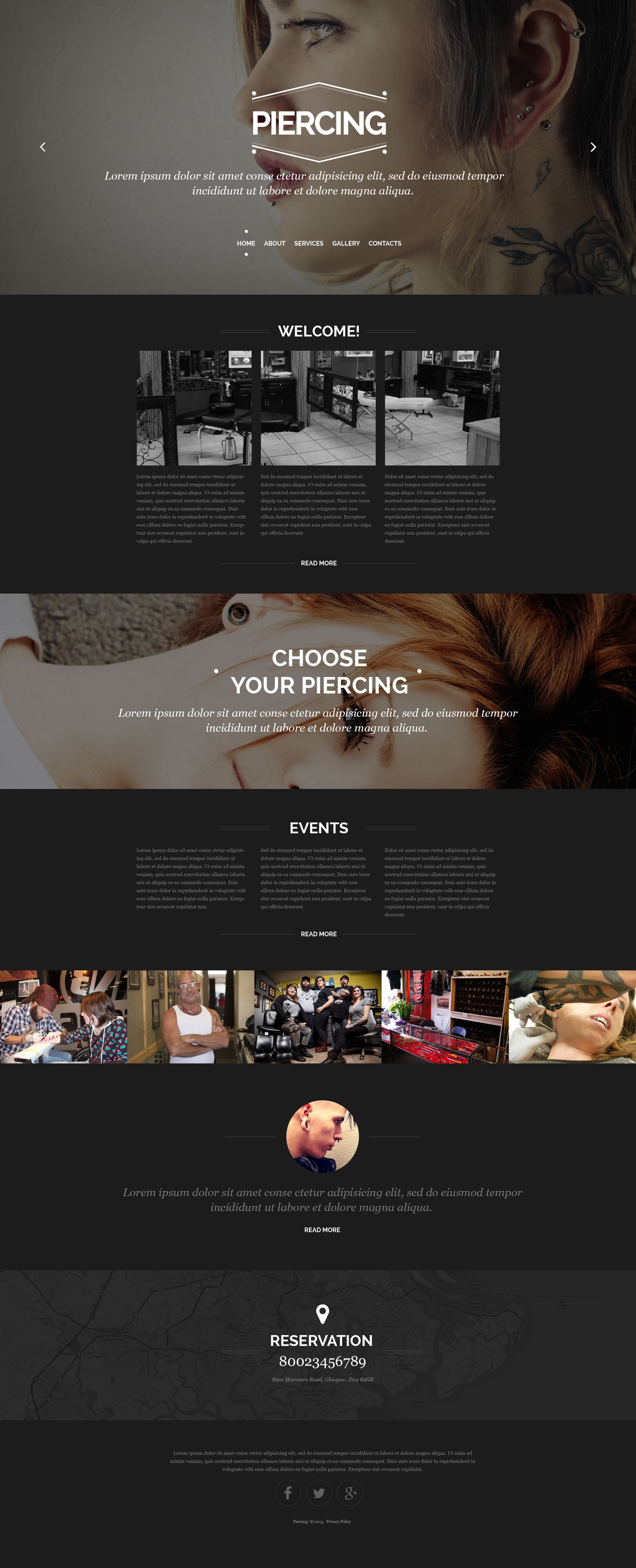 Piercing Shop Responsive Website Template