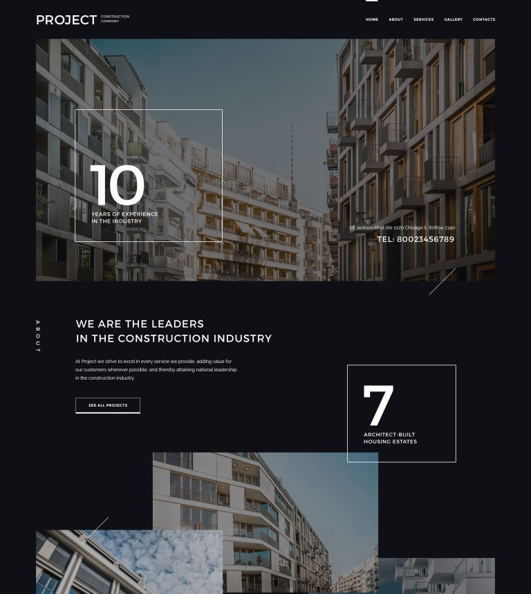 Project Construction Company Website Template