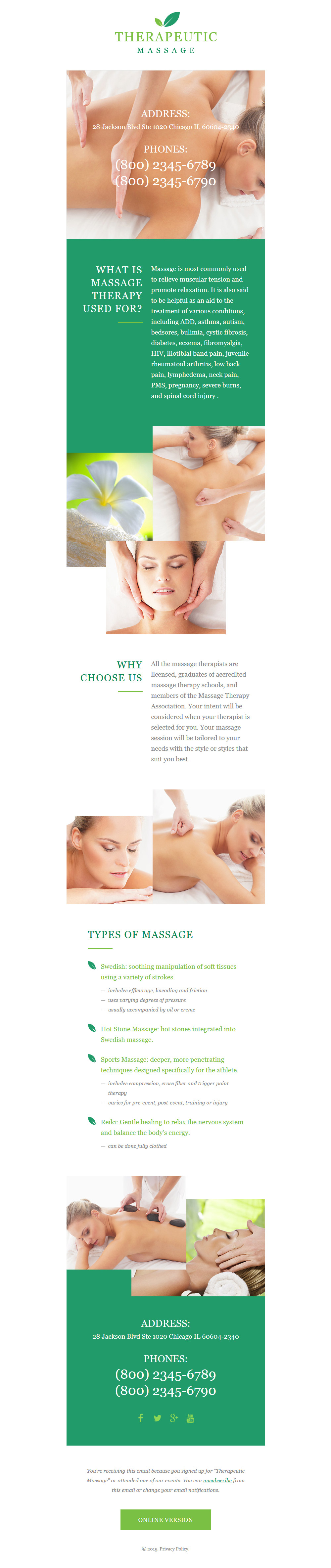Responsive Newsletter Vorlage für Massagesalon #57958