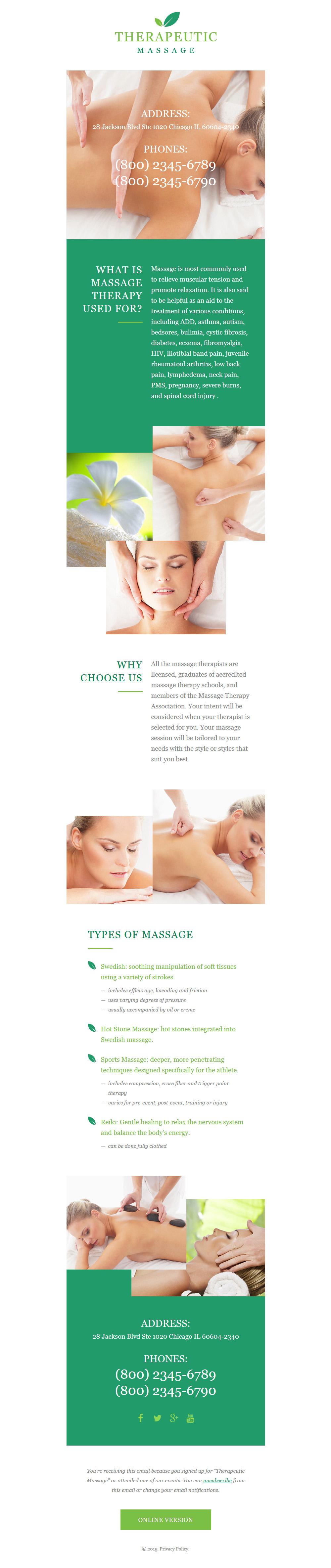 Responsive Nieuwsbrief Template over Massage Salon №57958