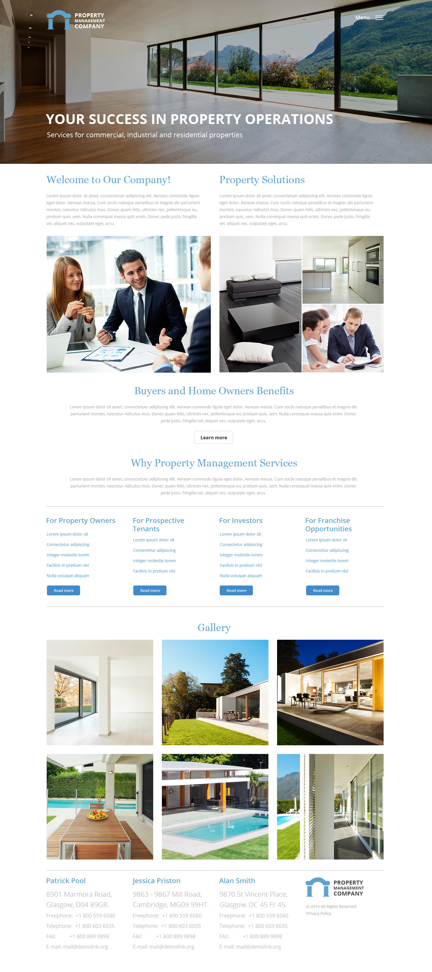 Responsive Website Vorlage für Immobilienmanagement #57932