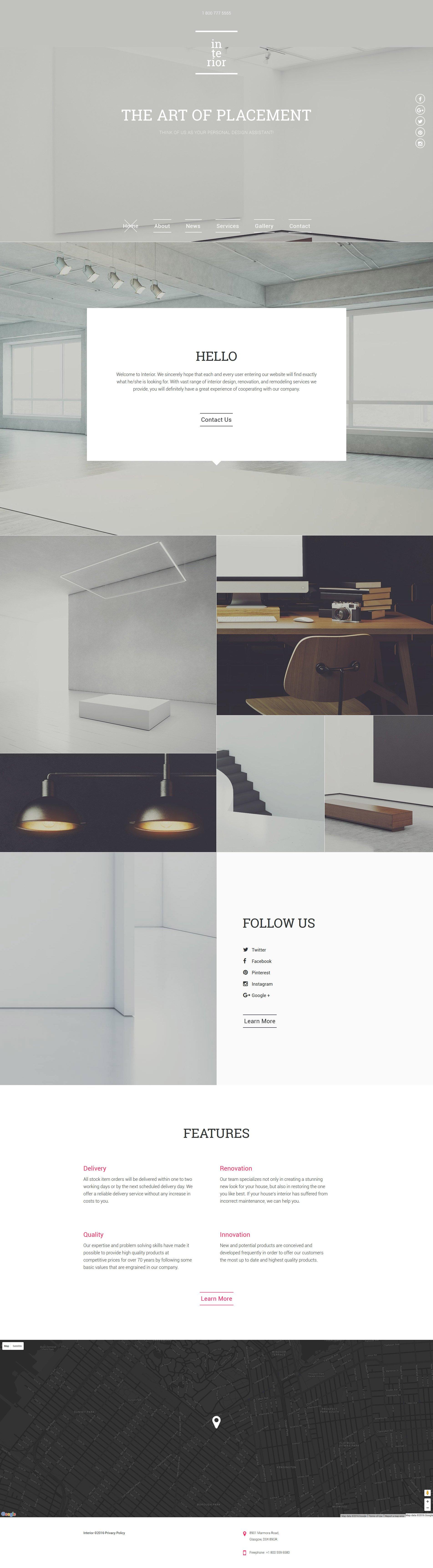 Responsive Website Vorlage für Innenausstattung und Möbel #57902