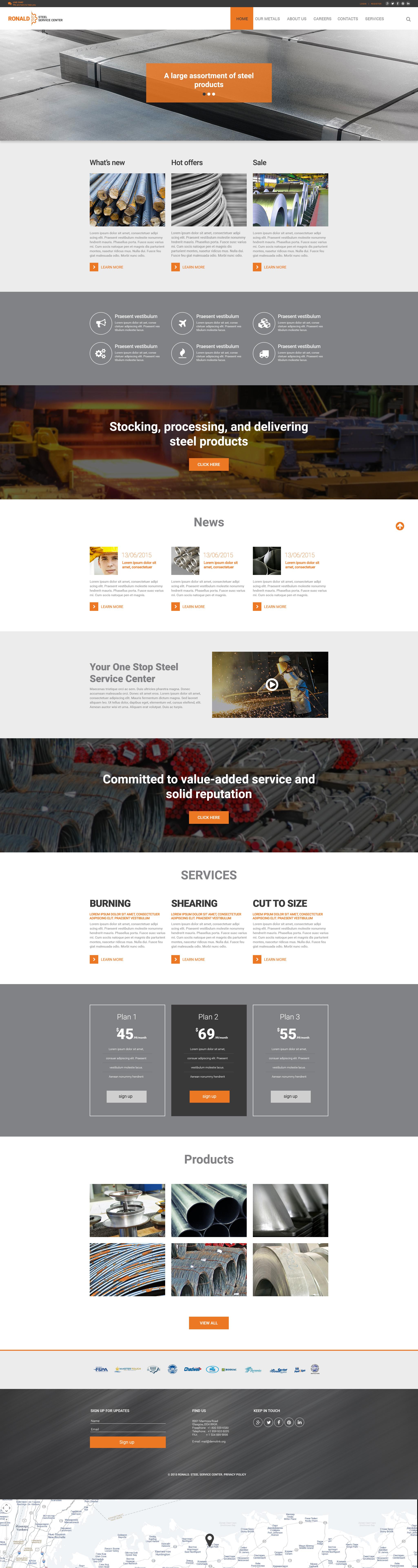 Responsive Website Vorlage für Stahlwerk #57944