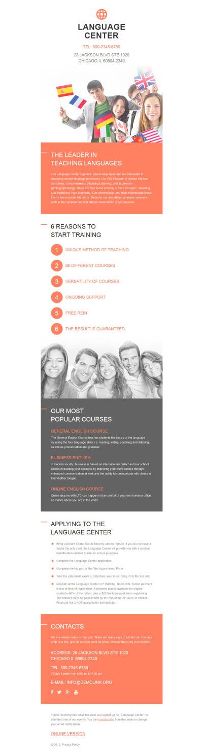 Language School Responsive Newsletter šablona