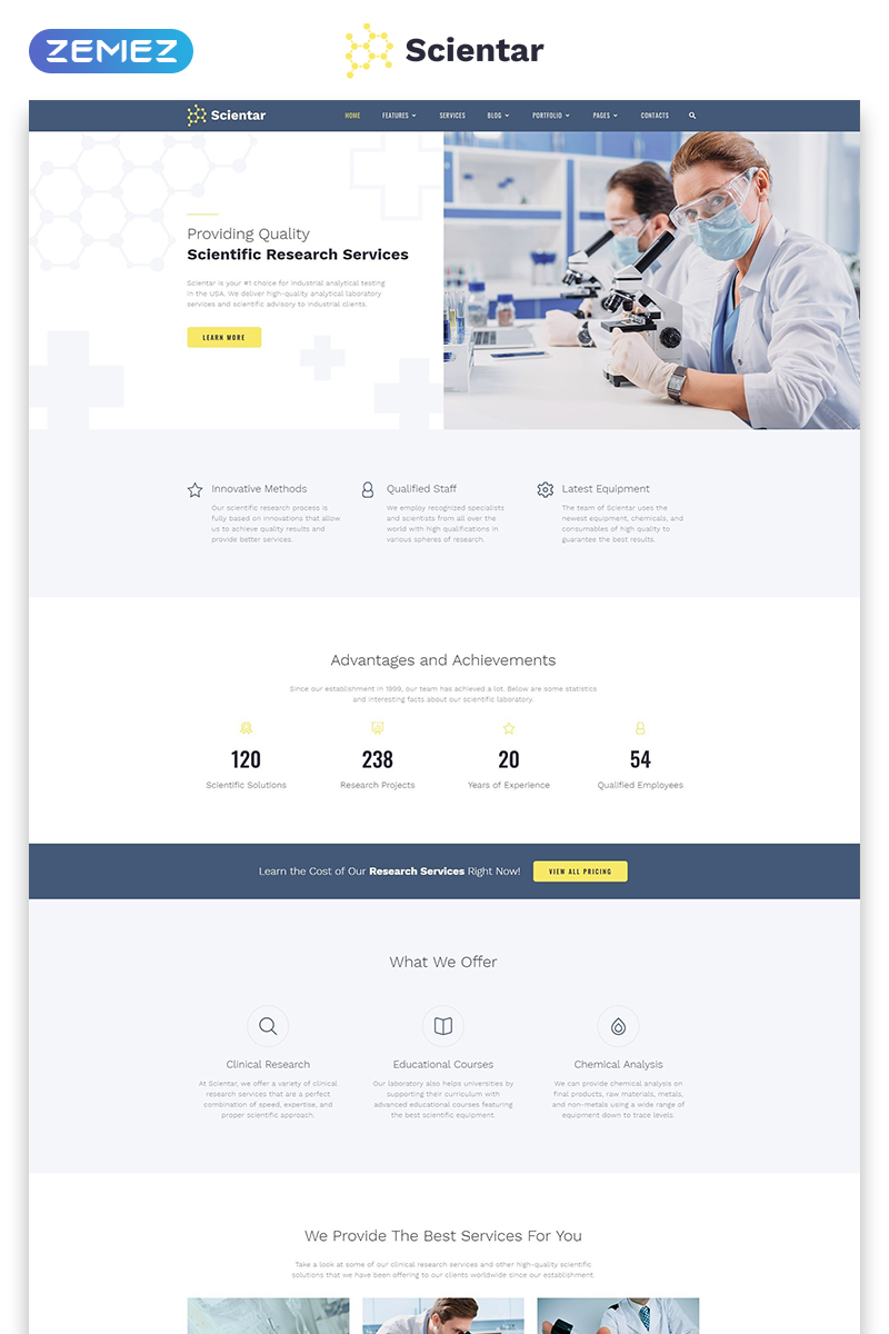 Scientar - Science Lab Multipage HTML Modern Website Template