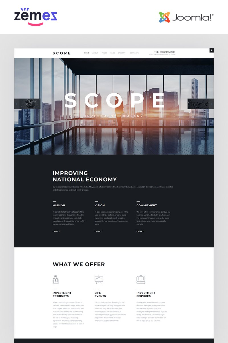"""Scope - Investment Company Responsive"" 响应式Joomla模板 #57913"