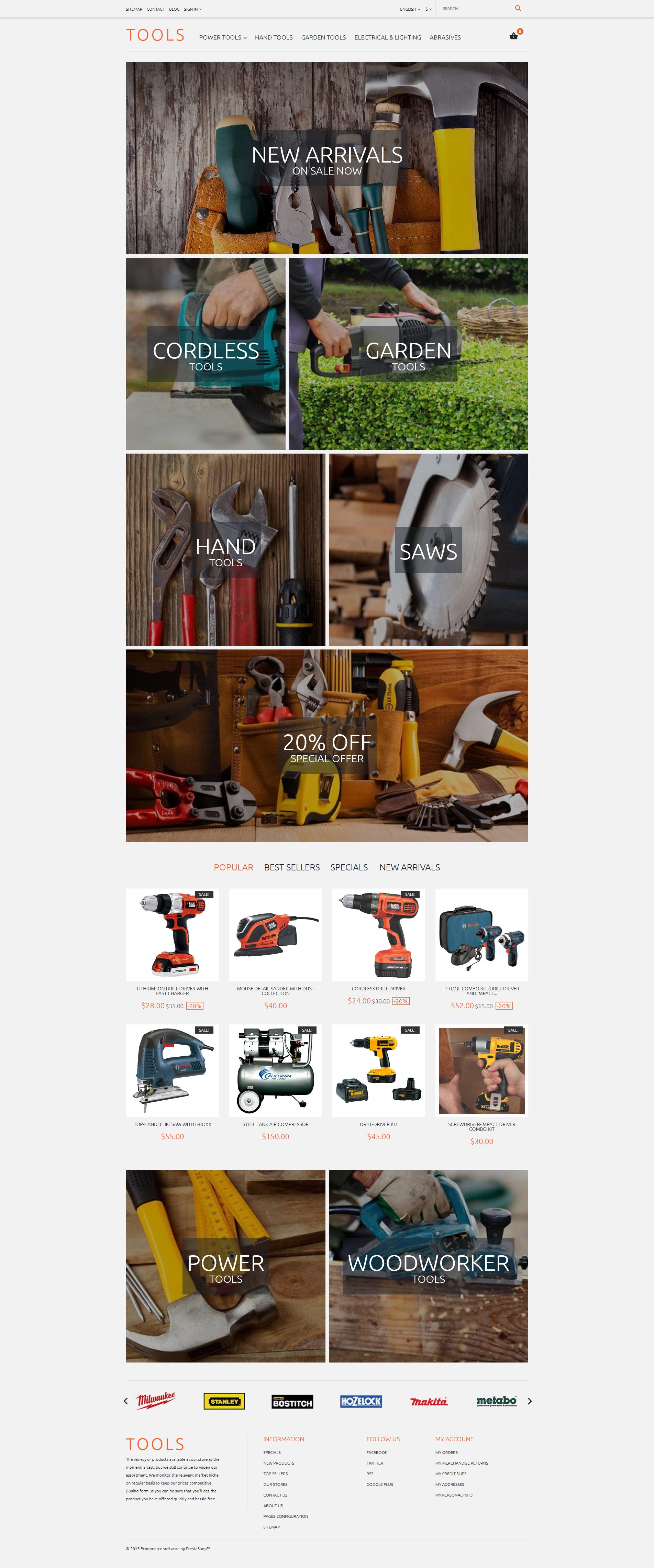 """Tools"" - адаптивний PrestaShop шаблон №57940"