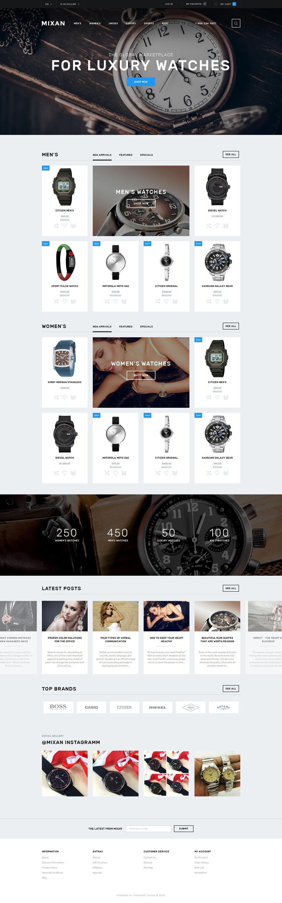 Watches Shop OpenCart Template New Screenshots BIG