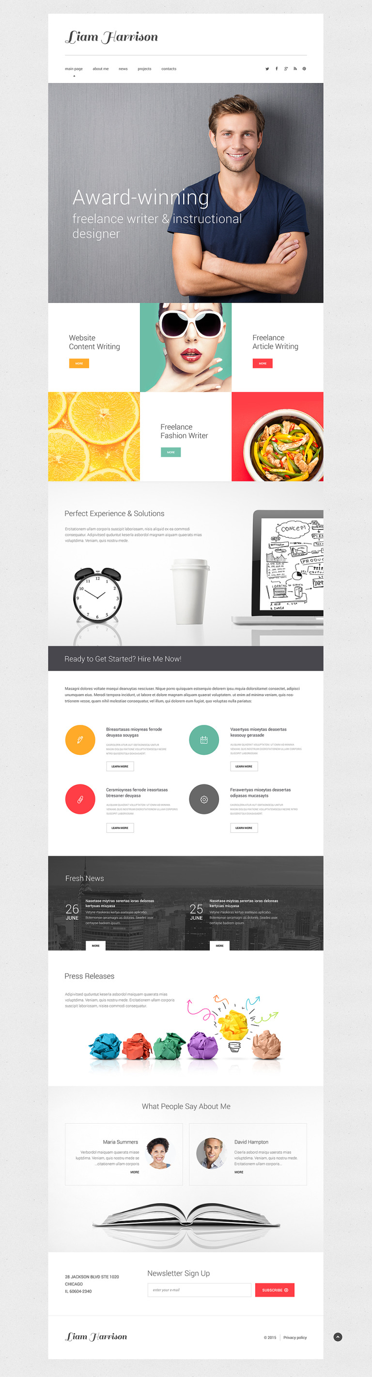 Writer/Author Responsive Website Template New Screenshots BIG