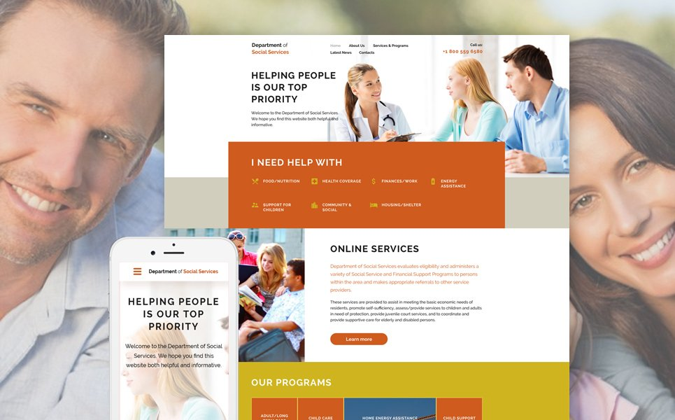 Department of social services template illustration image