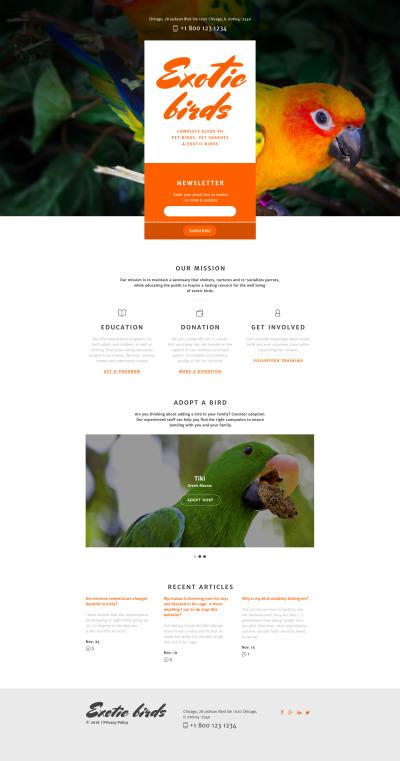 Fågel Responsivt Landing Page-mall