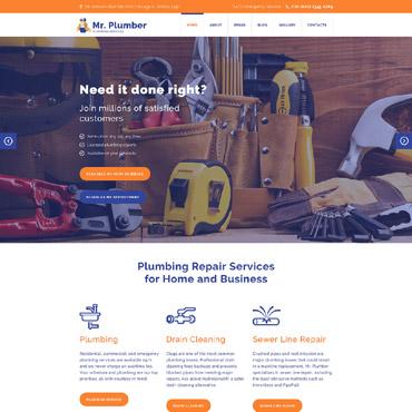 Купить Шаблон сайта услуг сантехника. Купить шаблон #58061 и создать сайт.