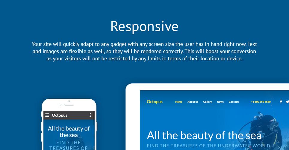 Octopus Diving  Responsive Website Template