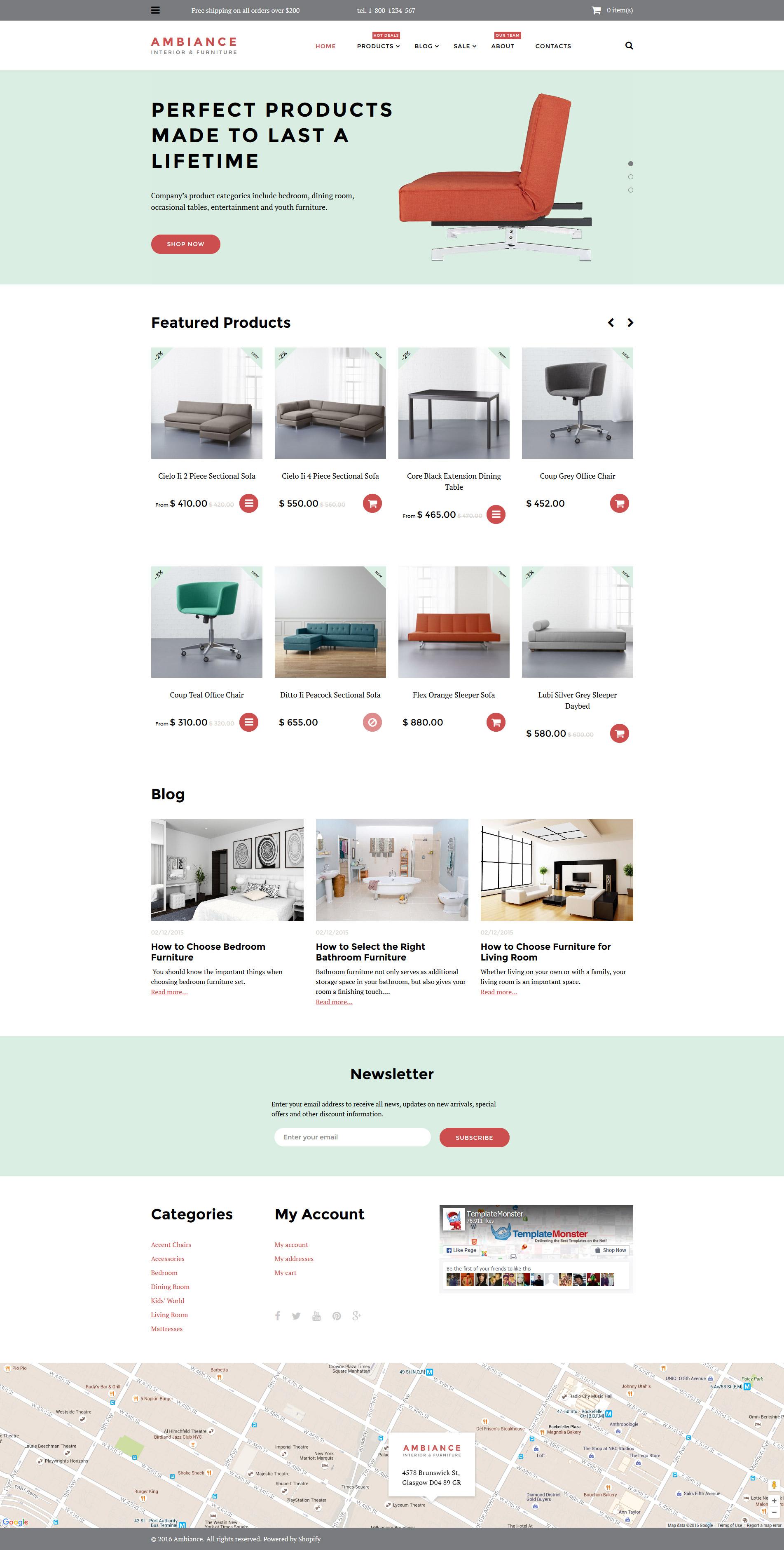 """""""Ambiance"""" Shopify模板 #58012 - 截图"""