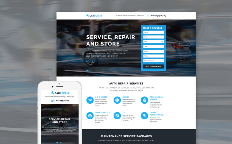 Car Repair Responsive Landing Page Template New Screenshots BIG