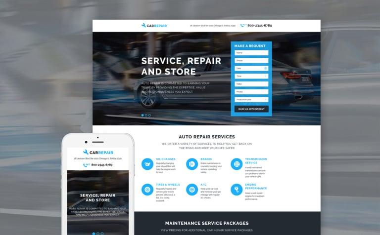 Car Repair Responsive Landing Page Template - Buy landing page template