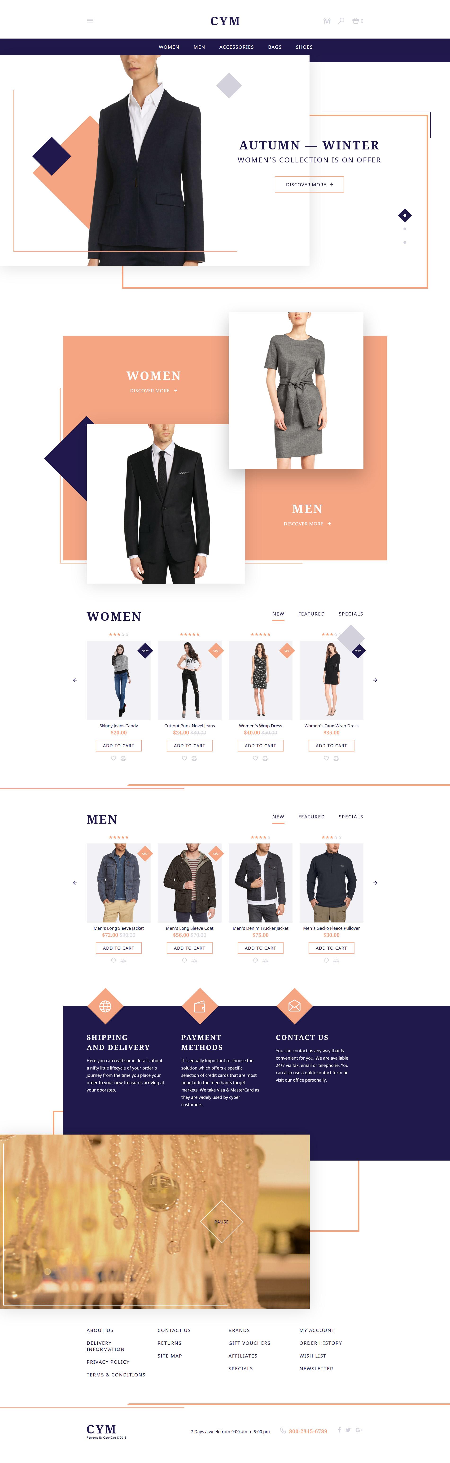 """CYM - Urban Clothing"" - адаптивний OpenCart шаблон №58069"