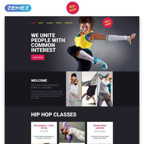 Hip Hop - Responsive Landing Page Template